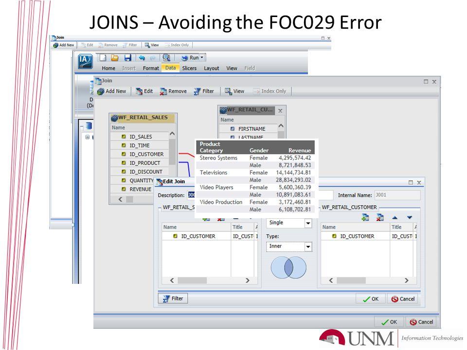 JOINS – Avoiding the FOC029 Error