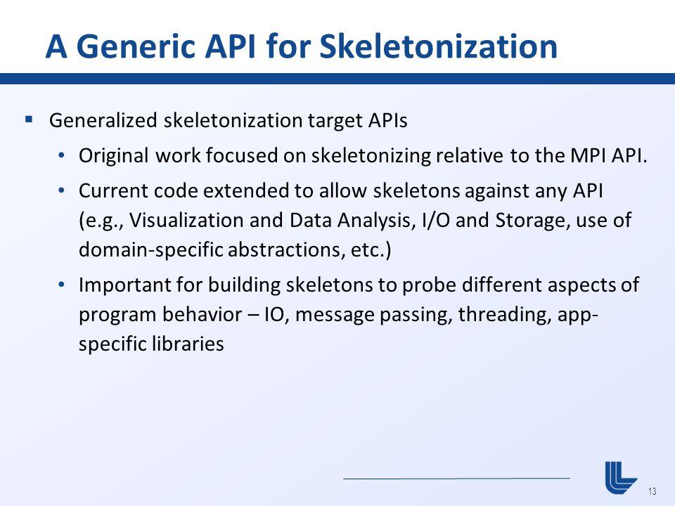 13 A Generic API for Skeletonization  Generalized skeletonization target APIs Original work focused on skeletonizing relative to the MPI API. Current