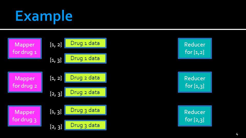 5 Drug 1 data {1, 2} Drug 1 data Drug 2 data {2, 3} Drug 3 data {1, 3} Drug 3 data Reducer for {1,2} Reducer for {2,3} Reducer for {1,3}
