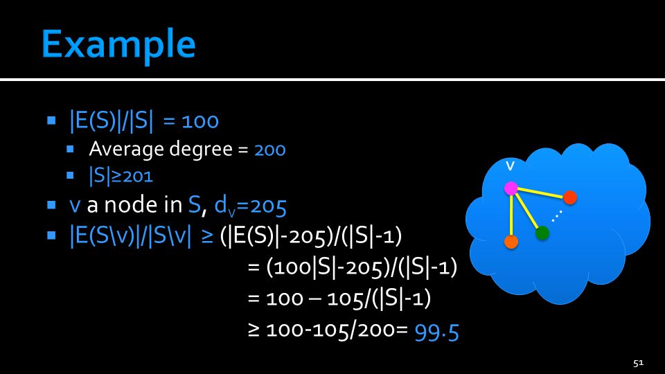  |E(S)|/|S| = 100  Average degree = 200  |S|≥201  v a node in S, d v =205  |E(S\v)|/|S\v| ≥ (|E(S)|-205)/(|S|-1) = (100|S|-205)/(|S|-1) = 100 – 105/(|S|-1) ≥ 100-105/200= 99.5 51 … v