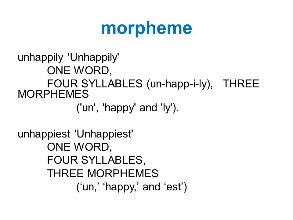 morpheme unhappily Unhappily ONE WORD, FOUR SYLLABLES (un-happ-i-ly), THREE MORPHEMES ( un , happy and ly ).