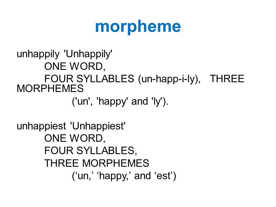 He meets the unhappiest boys 1 sentence, 5 words, 8 syllables, 9 morphemes He meet s the un happi est boy s 1 2 3 4 5 6 7 8 9