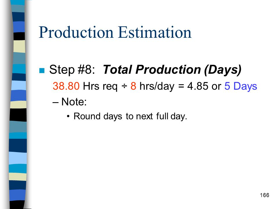 Production Estimation n Step #7: Total Hours Required to Complete Mission 14.55 acres x 2.50 prod. (hr/acre) x 1.6 disp. & strip. 0.75 efficiency x 2