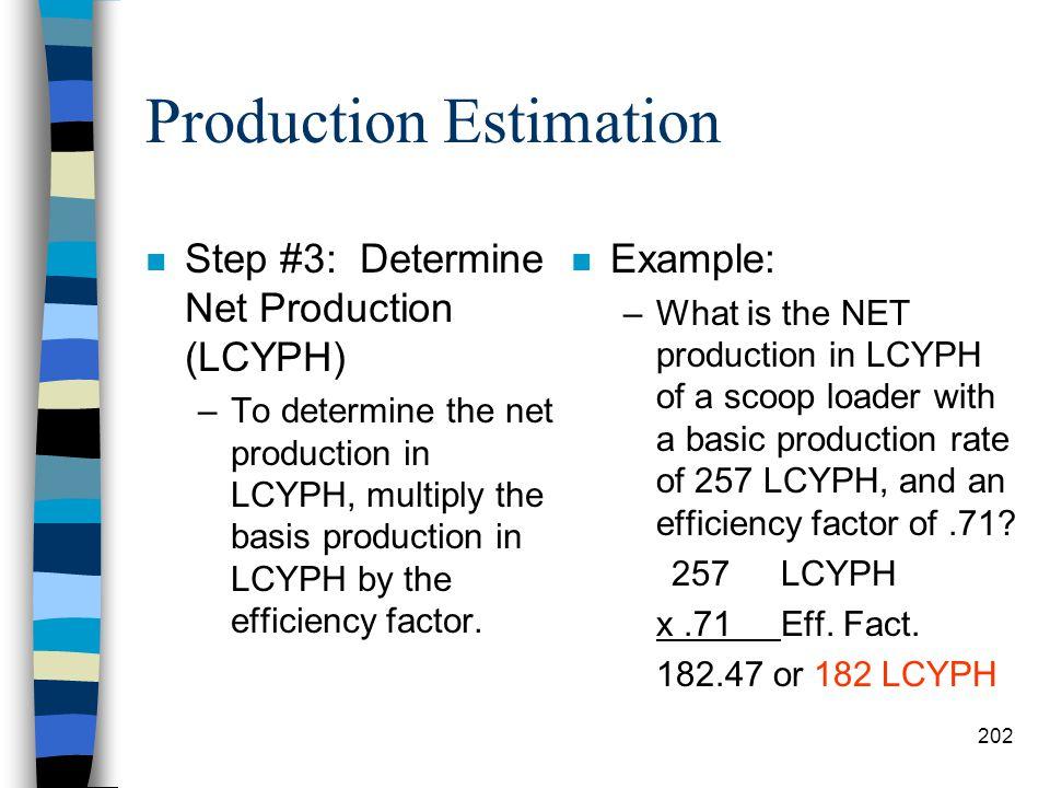 Production Estimation Table #17-5 Management Factors 201
