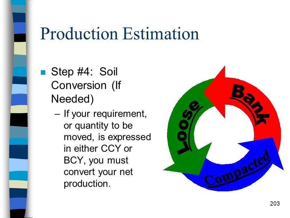 Production Estimation n Step #3: Determine Net Production (LCYPH) –To determine the net production in LCYPH, multiply the basis production in LCYPH by