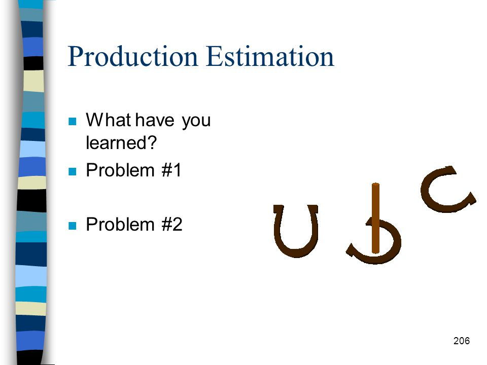 Production Estimation n Step #6: Total # of Days Required –Determine the total # of days the project will take. # hrs req # hrs wk/day = # days Note: