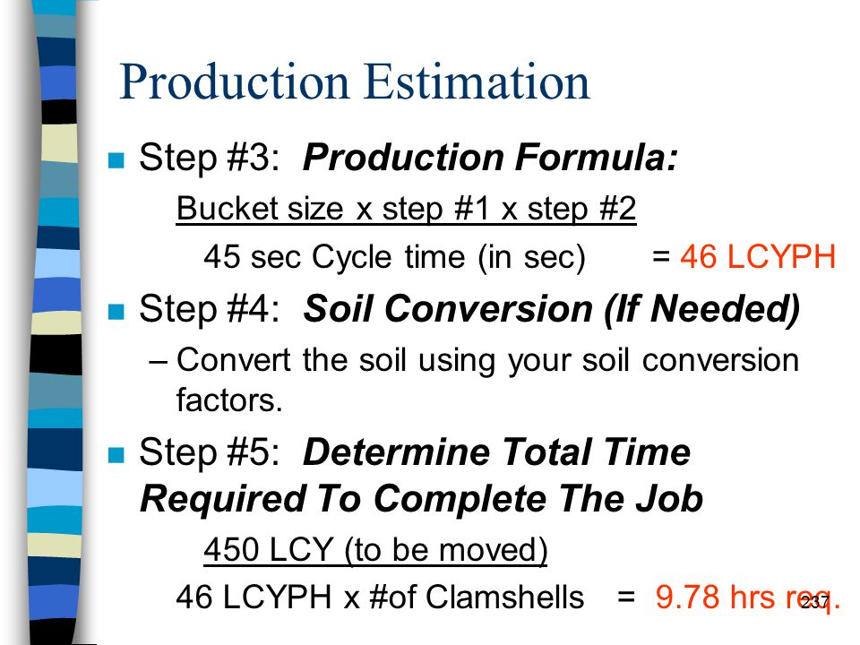Production Estimation n Example: –Determine the production rate and time required to complete the job. –Step #1: Convert Working Minutes/Hour to Worki