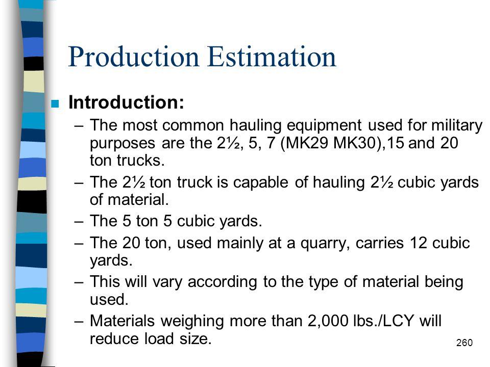 Production Estimation Dump Truck 259