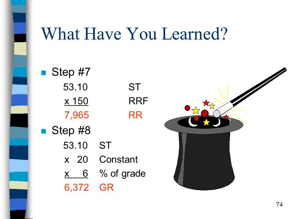 What Have You Learned? n Step #1 2,200ASW n Step #2 N/A n Step #3 N/A n Step #4 N/A n Step #5 2,200ASW x 18ALS 39,600LW n Step #6 39,600LW + 66,590TR
