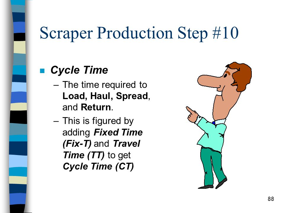 Scraper Production Step #9 n Step #9: Required Pounds Of Pull (REQPP) & Travel Speed. 2,165RR -1,332GA 833 REQPP 8th gear / 26 mph n Now that you have