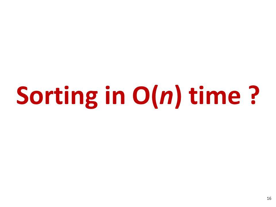 Sorting in O(n) time 16