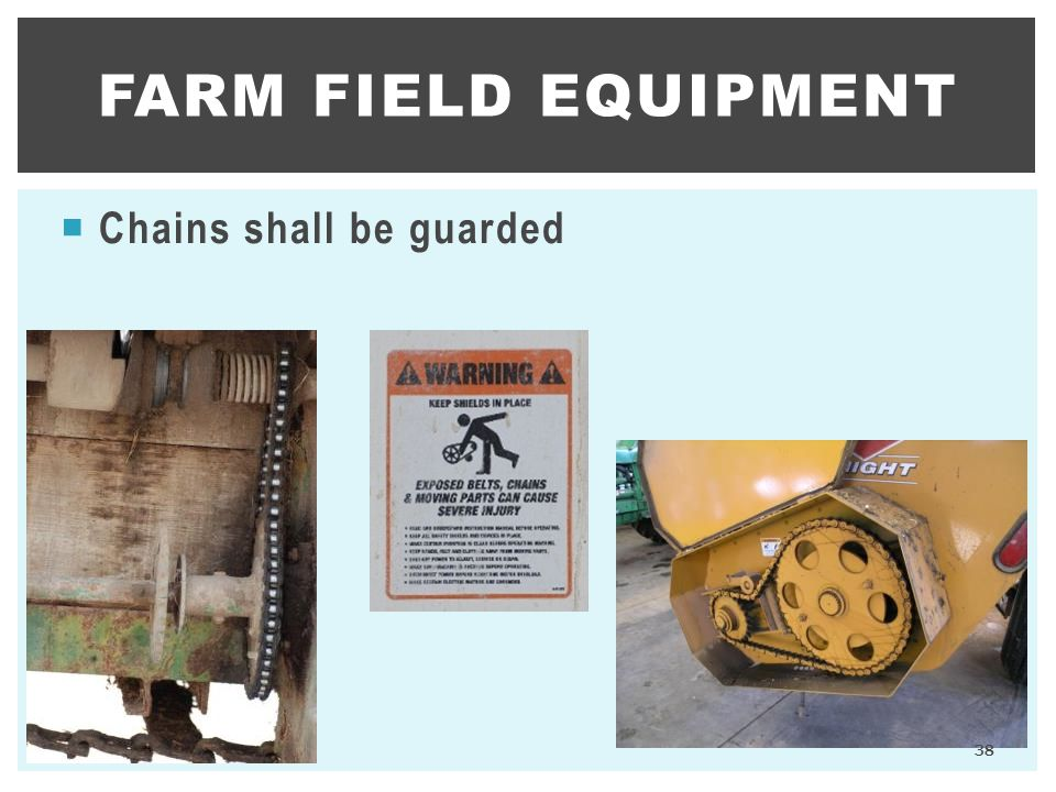  Chains shall be guarded FARM FIELD EQUIPMENT 38