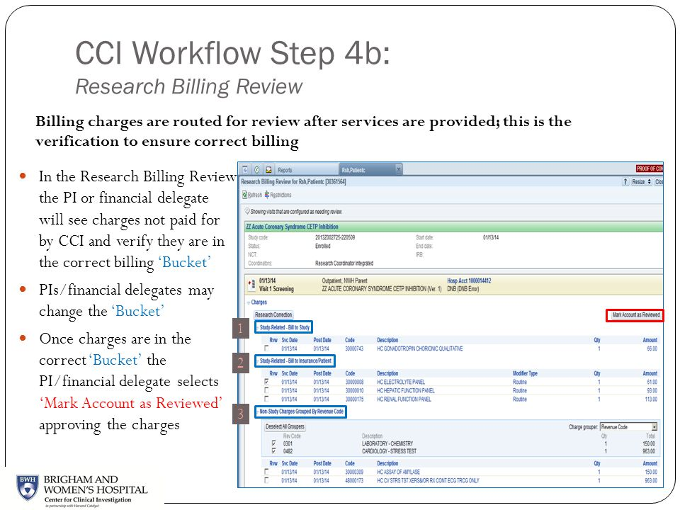 CCI Workflow Step 4b: Research Billing Review In the Research Billing Review the PI or financial delegate will see charges not paid for by CCI and ver