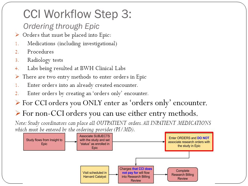 CCI Workflow Step 3: Ordering through Epic  Orders that must be placed into Epic: 1. Medications (including investigational) 2. Procedures 3. Radiolo