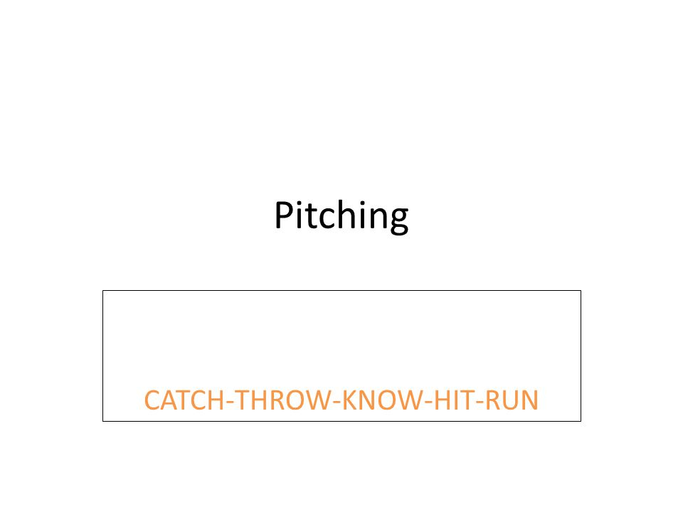 Pitching CATCH-THROW-KNOW-HIT-RUN