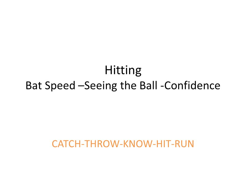 Hitting Bat Speed –Seeing the Ball -Confidence CATCH-THROW-KNOW-HIT-RUN