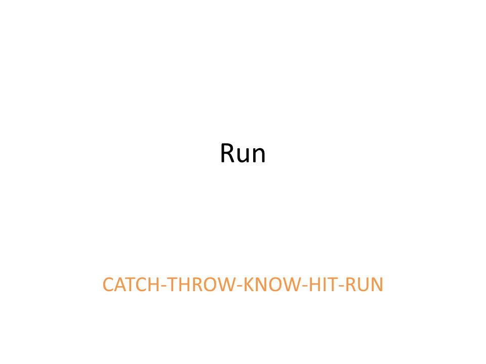 Run CATCH-THROW-KNOW-HIT-RUN