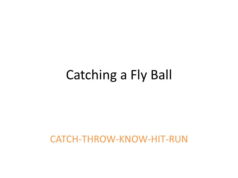 Catching a Fly Ball CATCH-THROW-KNOW-HIT-RUN