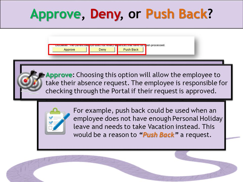ApproveDenyPush Back Approve, Deny, or Push Back.