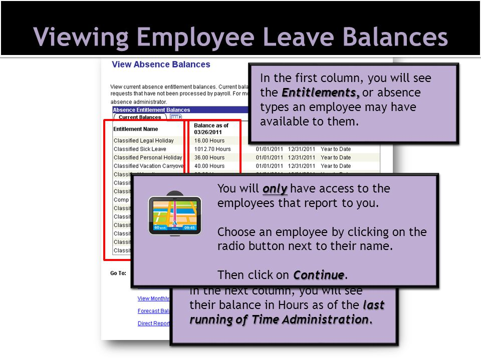 Viewing Employee Leave Balances