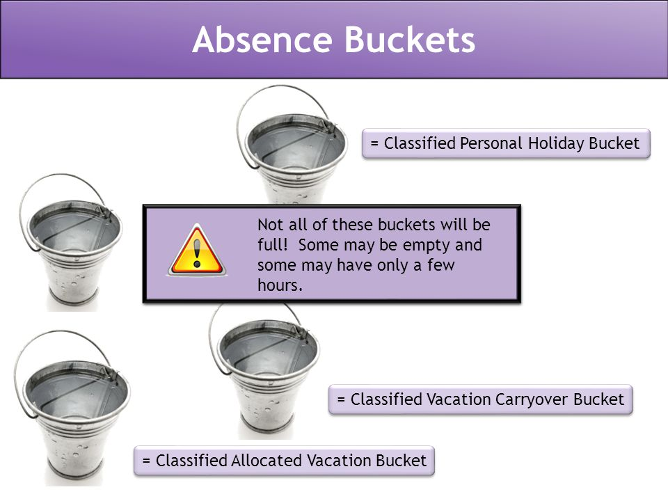 = Classified Personal Holiday Bucket = Classified Sick Leave Bucket = Classified Vacation Carryover Bucket = Classified Allocated Vacation Bucket