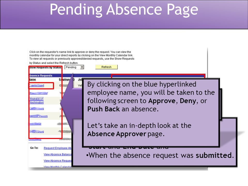 Warning.employee and/or manager to check the Employee Leave Balances page manually.