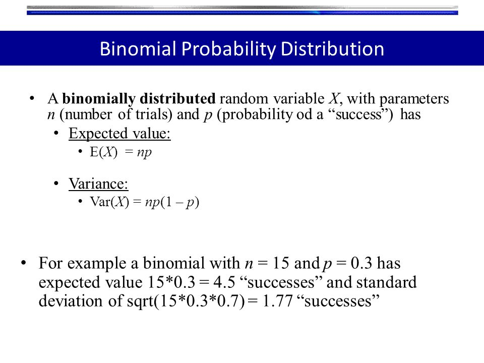 "A binomially distributed random variable X, with parameters n (number of trials) and p (probability od a ""success"") has Expected value: E(X) = np Vari"