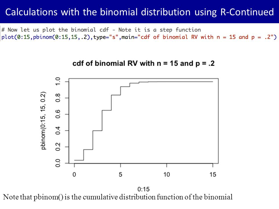 Calculations with the binomial distribution using R-Continued Note that pbinom() is the cumulative distribution function of the binomial