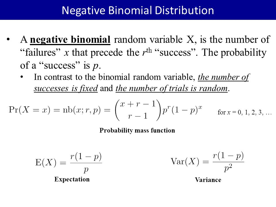 "A negative binomial random variable X, is the number of ""failures"" x that precede the r th ""success"". The probability of a ""success"" is p. In contrast"