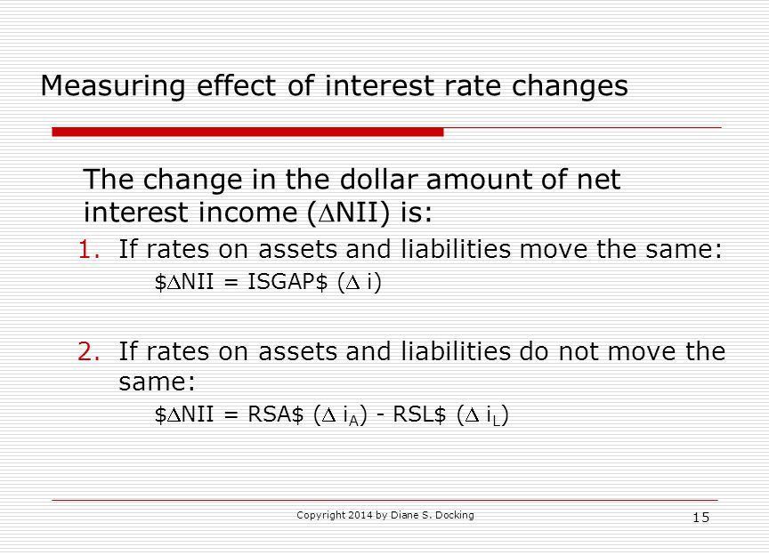 15 Measuring effect of interest rate changes The change in the dollar amount of net interest income (NII) is: 1.If rates on assets and liabilities move the same: $NII = ISGAP$ ( i) 2.If rates on assets and liabilities do not move the same: $NII = RSA$ ( i A ) - RSL$ ( i L )