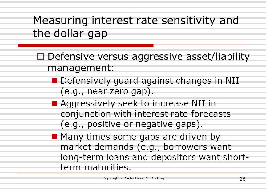 28 Measuring interest rate sensitivity and the dollar gap  Defensive versus aggressive asset/liability management: Defensively guard against changes in NII (e.g., near zero gap).