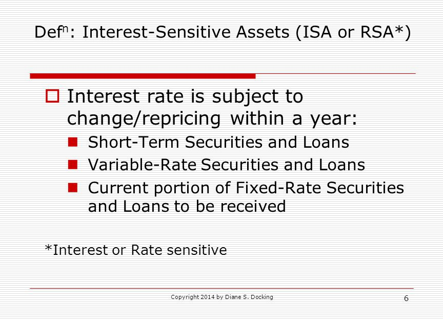 Copyright 2014 by Diane S. Docking 6 Def n : Interest-Sensitive Assets (ISA or RSA*)  Interest rate is subject to change/repricing within a year: Sho
