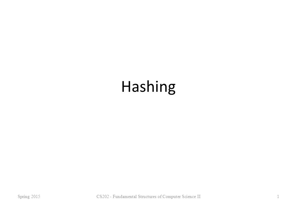 Hashing Spring 2015CS202 - Fundamental Structures of Computer Science II1