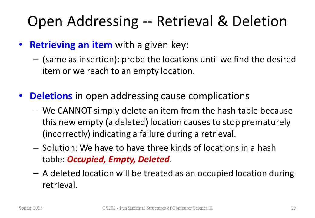 Open Addressing -- Retrieval & Deletion Retrieving an item with a given key: – (same as insertion): probe the locations until we find the desired item