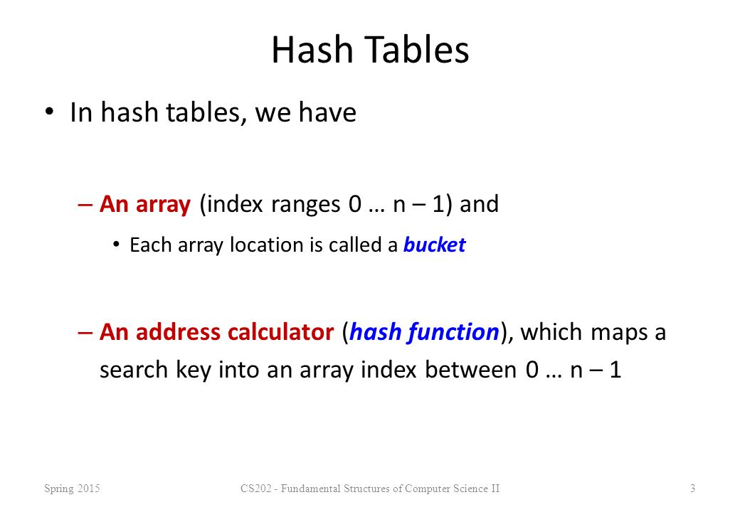 Double Hashing -- Example Example: – Table Size is 11 (0..10) – Hash Function: h 1 (x) = x mod 11 h 2 (x) = 7 – (x mod 7) – Insert keys: 58, 14, 91 58 mod 11 = 3 14 mod 11 = 3  3+7=10 91 mod 11 = 3  3+7, 3+2*7 mod 11=6 Spring 2015CS202 - Fundamental Structures of Computer Science II24 0 1 2 358 4 5 691 7 8 9 1014