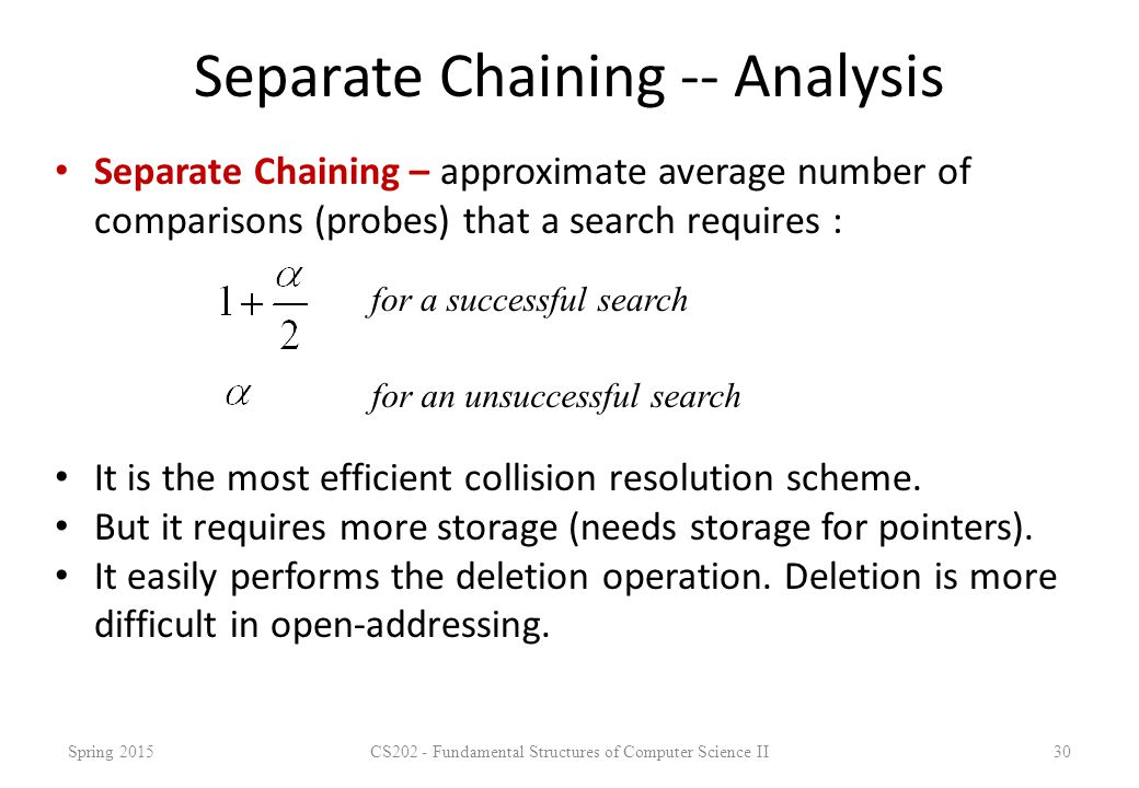 Separate Chaining -- Analysis Separate Chaining – approximate average number of comparisons (probes) that a search requires : Spring 2015CS202 - Funda