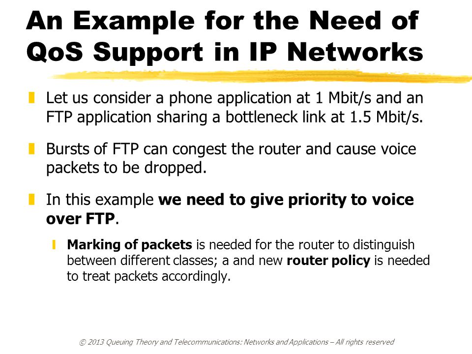 An Example for the Need of QoS Support in IP Networks zLet us consider a phone application at 1 Mbit/s and an FTP application sharing a bottleneck link at 1.5 Mbit/s.