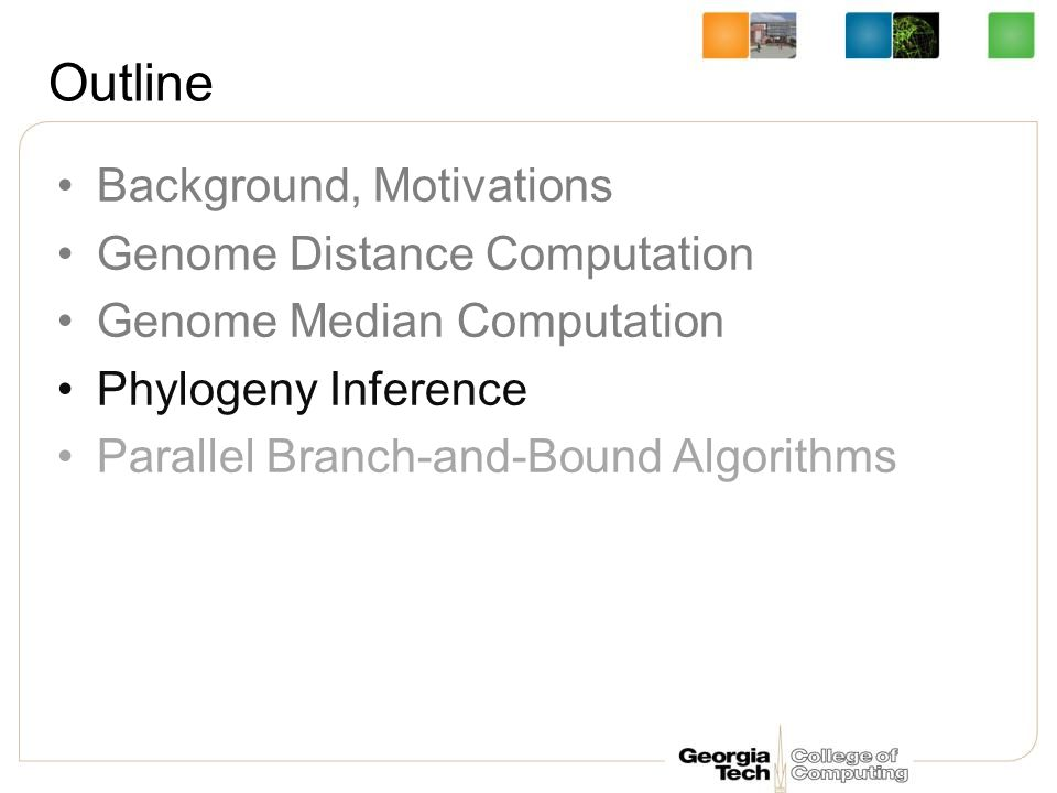 Outline Background, Motivations Genome Distance Computation Genome Median Computation Phylogeny Inference Parallel Branch-and-Bound Algorithms
