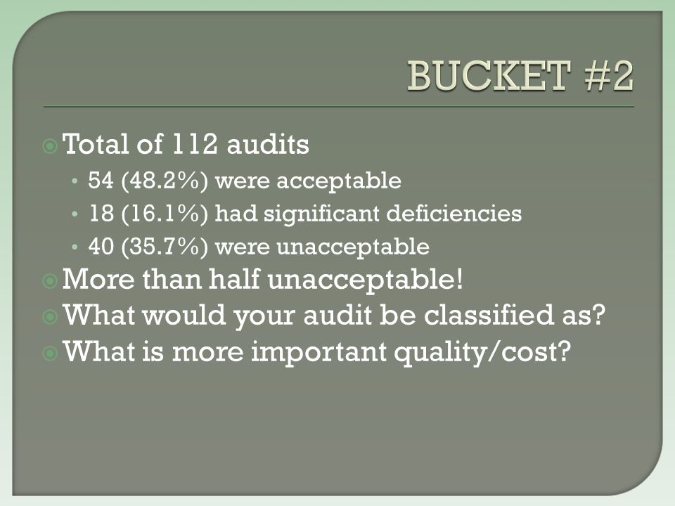  Not documenting the understanding of internal controls over compliance requirements -- 56.5%  Not documenting the testing of internal controls of at least some compliance requirements – 61%  Not documenting compliance testing of at least some compliance requirements – 59.6%