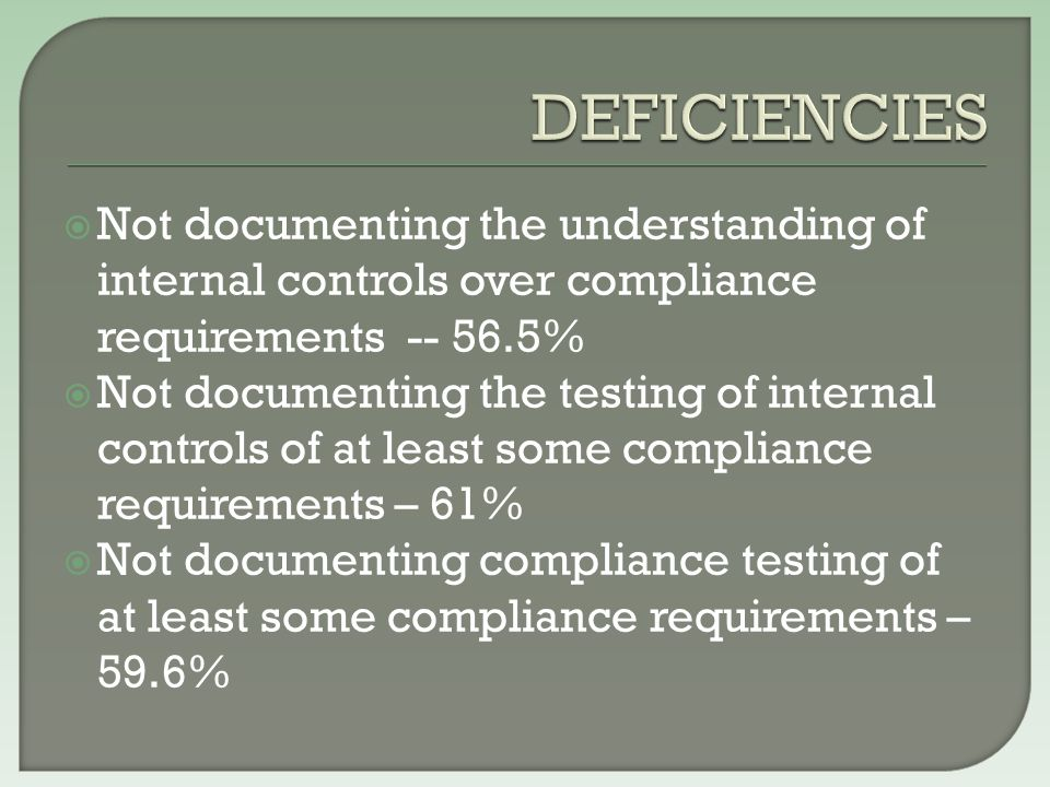  Not documenting the understanding of internal controls over compliance requirements -- 56.5%  Not documenting the testing of internal controls of at least some compliance requirements – 61%  Not documenting compliance testing of at least some compliance requirements – 59.6%