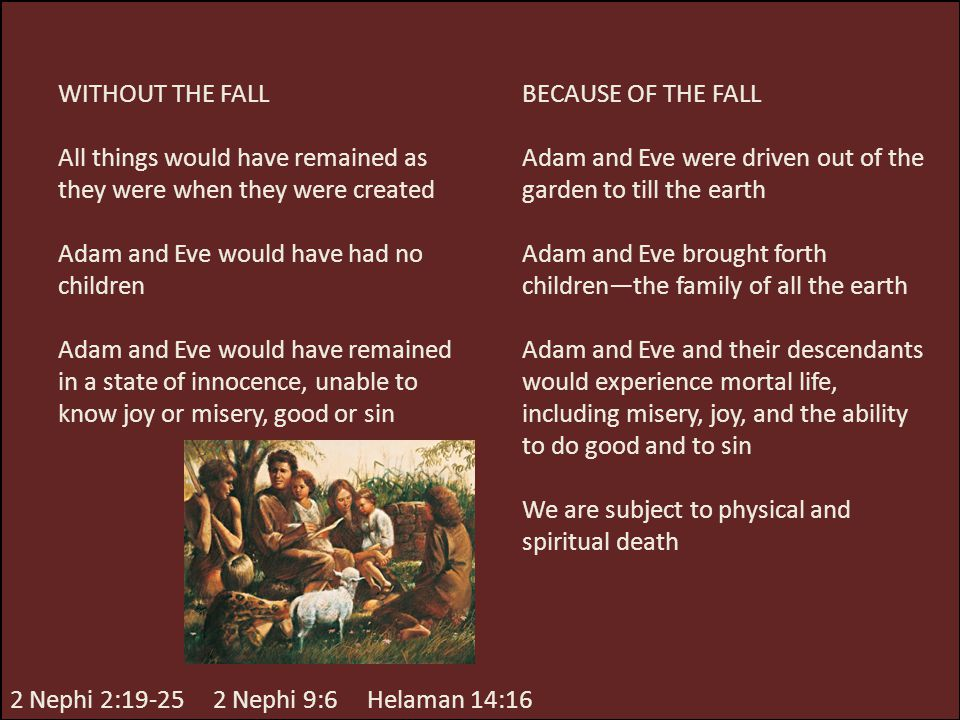 WITHOUT THE FALL All things would have remained as they were when they were created Adam and Eve would have had no children Adam and Eve would have re
