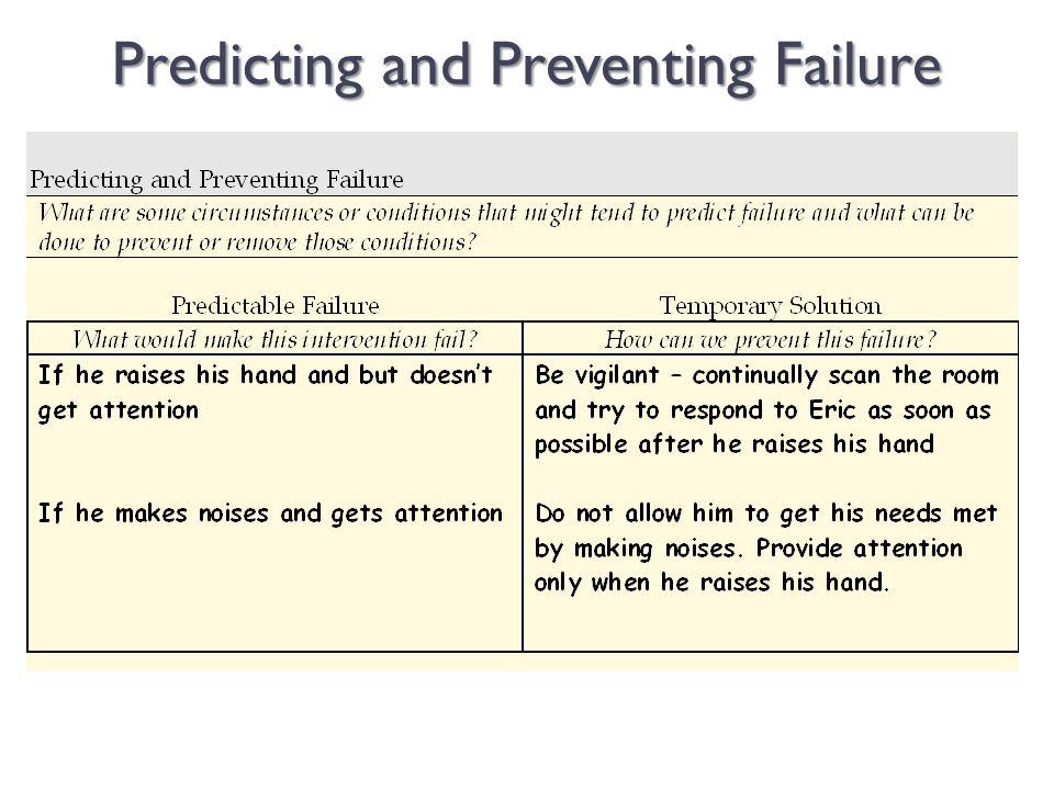 Predicting and Preventing Failure