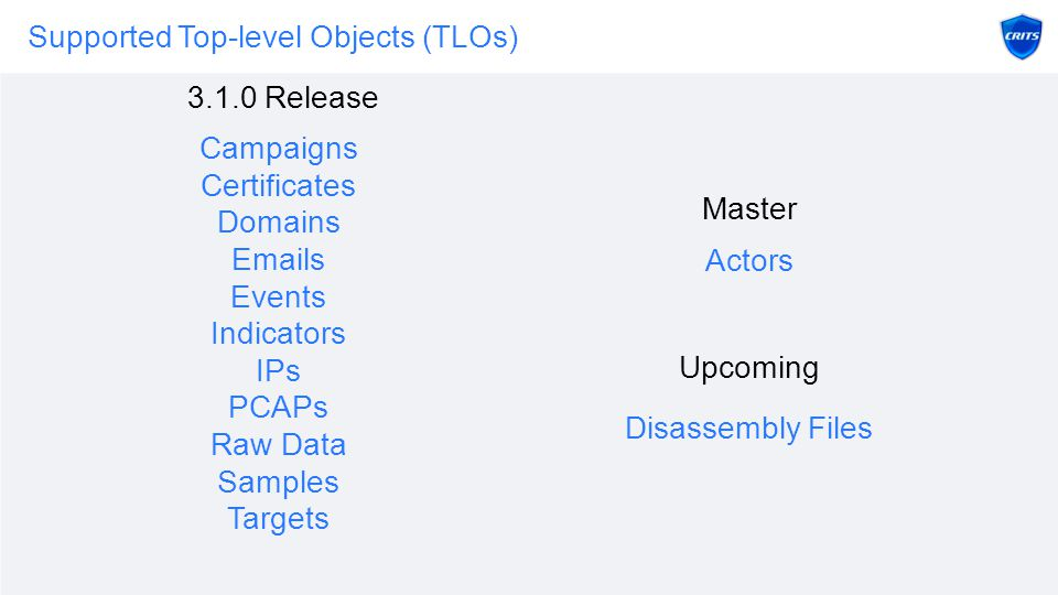 Supported Top-level Objects (TLOs) Campaigns Certificates Domains Emails Events Indicators IPs PCAPs Raw Data Samples Targets 3.1.0 Release Master Upcoming Actors Disassembly Files