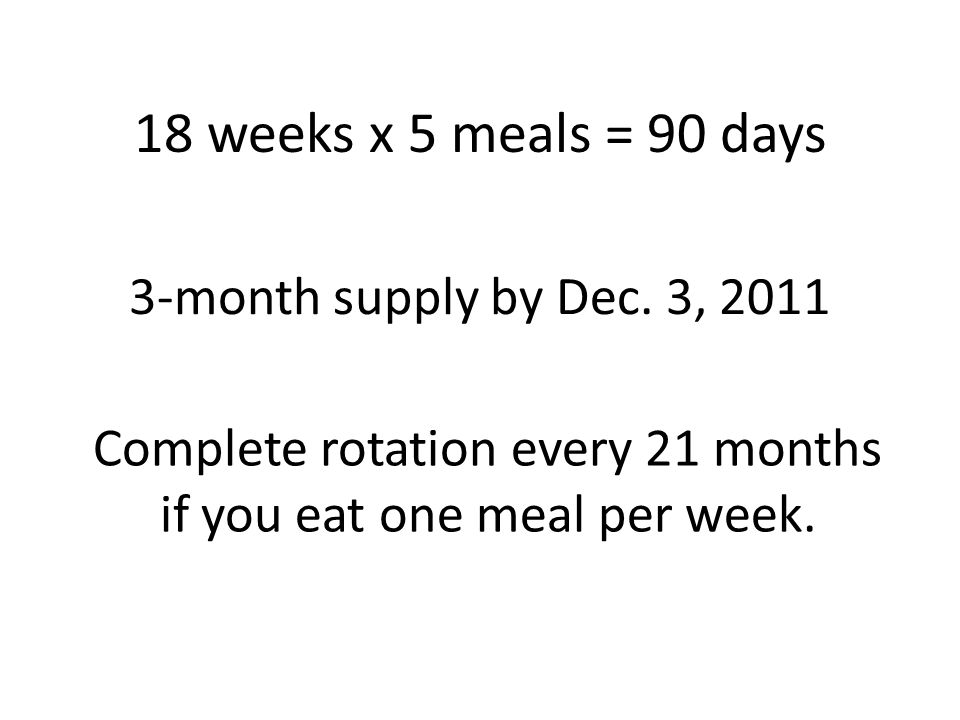 18 weeks x 5 meals = 90 days 3-month supply by Dec.