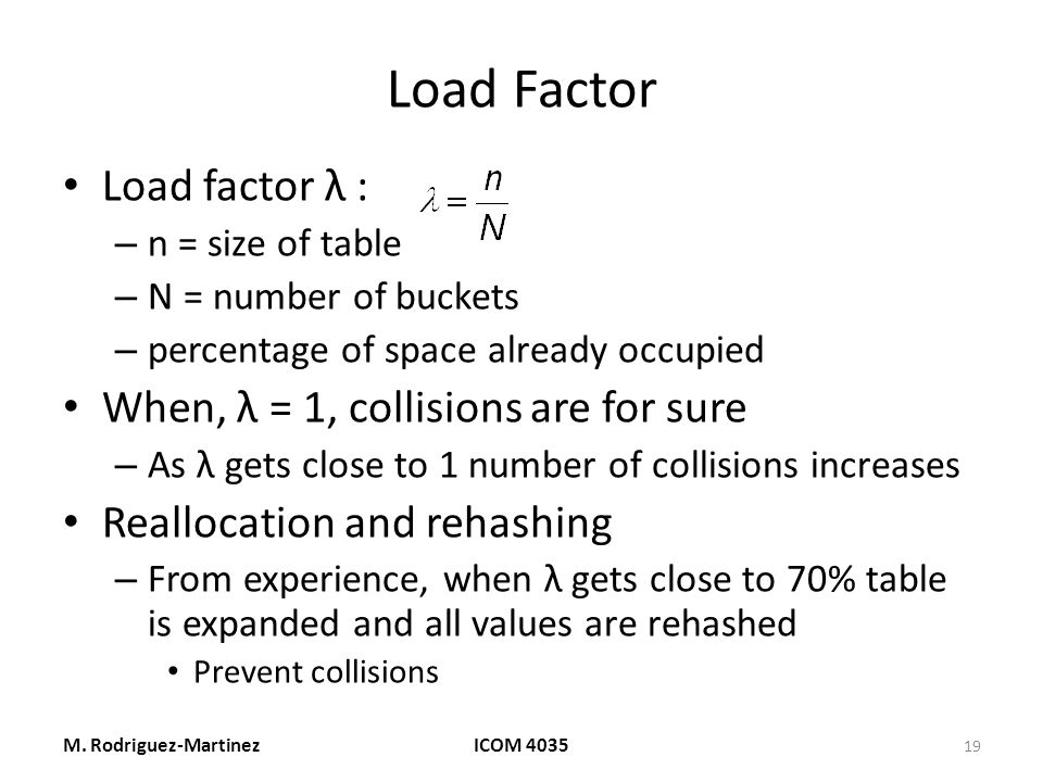 Load Factor Load factor λ : – n = size of table – N = number of buckets – percentage of space already occupied When, λ = 1, collisions are for sure – As λ gets close to 1 number of collisions increases Reallocation and rehashing – From experience, when λ gets close to 70% table is expanded and all values are rehashed Prevent collisions M.