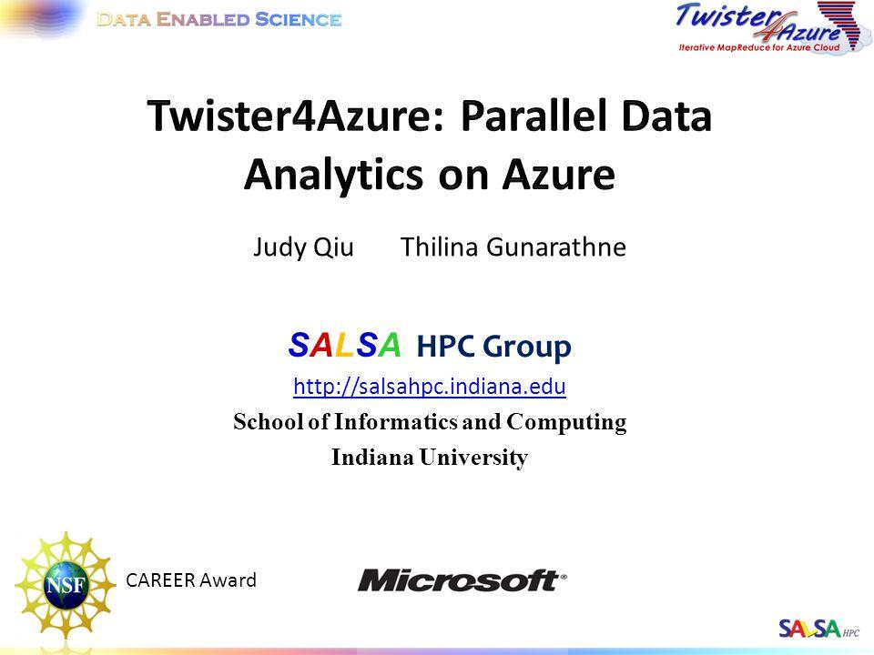 SALSA HPC Group http://salsahpc.indiana.edu School of Informatics and Computing Indiana University Judy Qiu Thilina Gunarathne CAREER Award