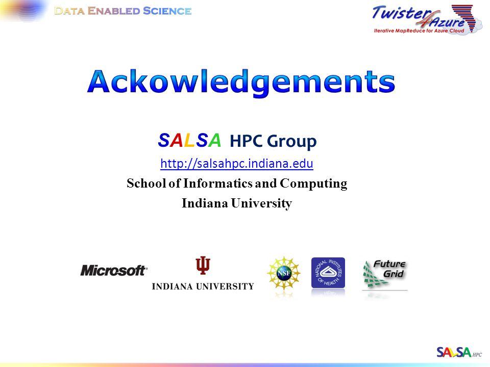 SALSA HPC Group http://salsahpc.indiana.edu School of Informatics and Computing Indiana University