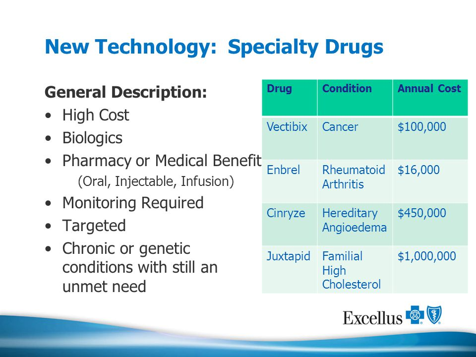 New Technology: Specialty Drugs General Description: High Cost Biologics Pharmacy or Medical Benefit (Oral, Injectable, Infusion) Monitoring Required