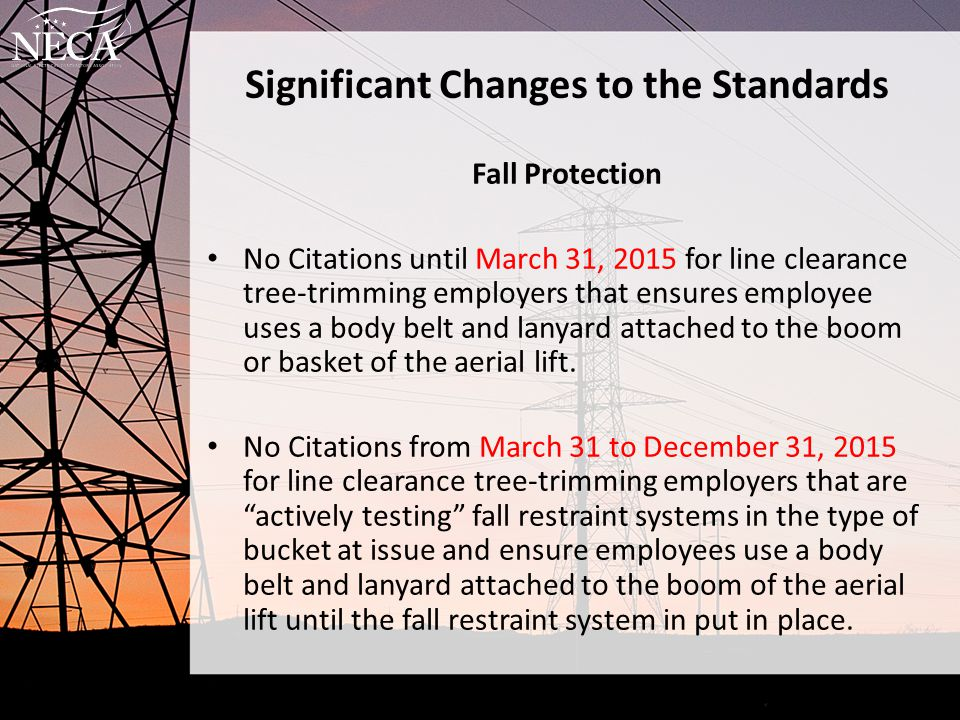 Significant Changes to the Standards Fall Protection No Citations until March 31, 2015 for line clearance tree-trimming employers that ensures employe