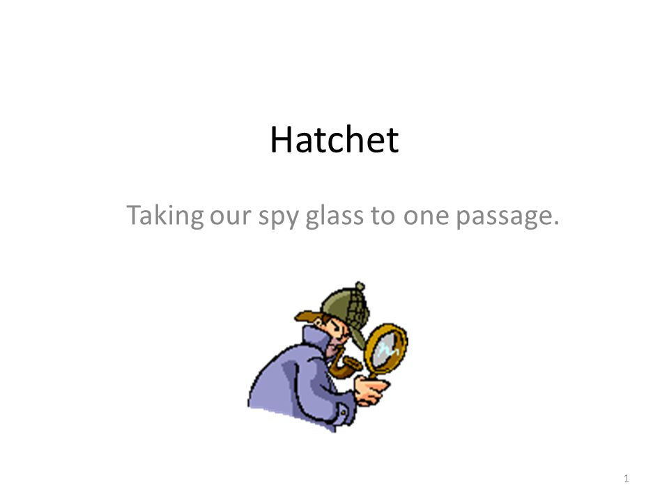 Hatchet Taking our spy glass to one passage. 1